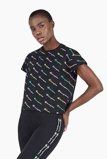 Camiseta Champion ALL-OVER RAINBOW negra
