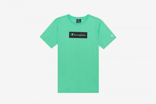 Camiseta Champion Color Block Box Script verde