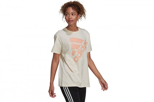 Camiseta adidas BRAND LOVE SLANTED LOGO BOYFRIEND blanca